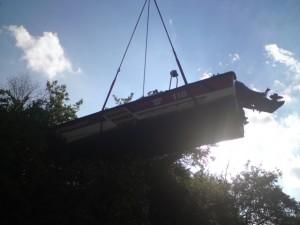 Rheinrettungsbott am Steg gesunken