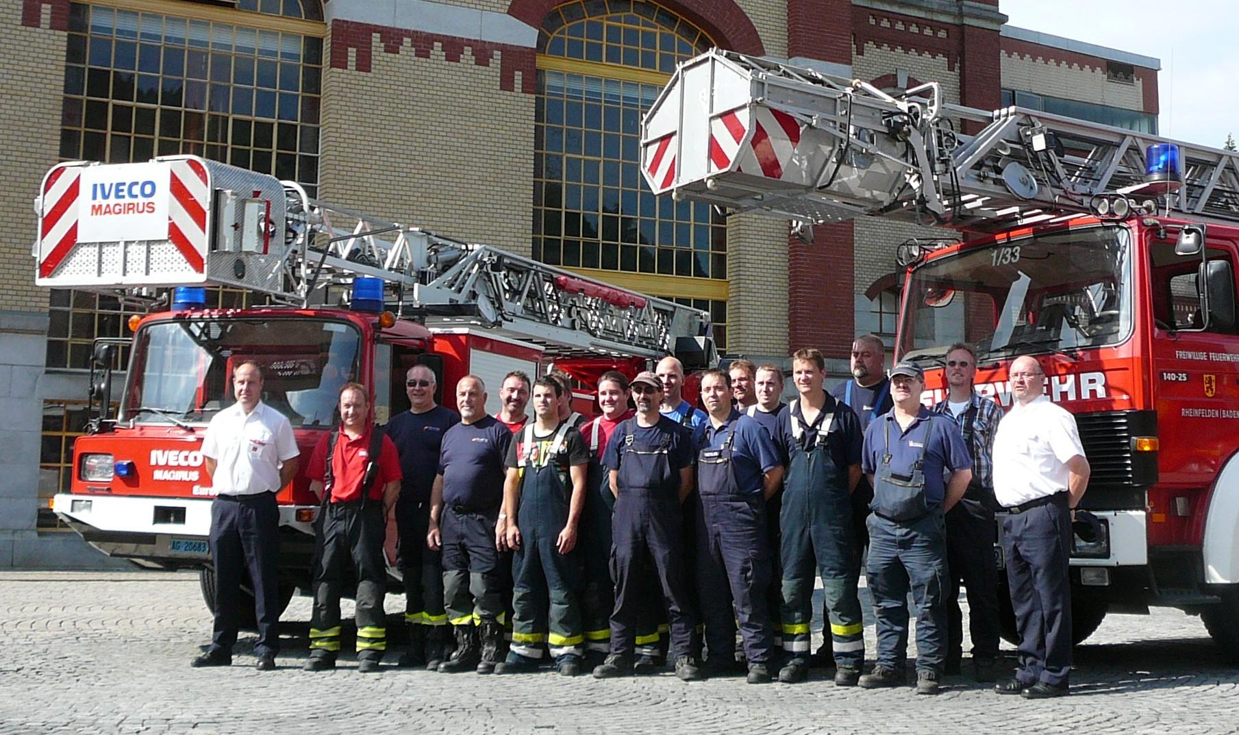 Internationaler Drehleiter Ausbildungstag bei der Feuerwehr Rheinfelden und der Feuerwehr Rheinfelden Schweiz